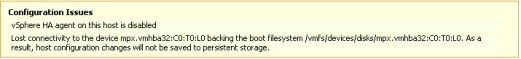 The vSphere Client indicates something is wrong and configuration changes cannot be saved to local disk because of a failed device