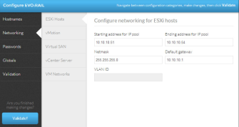 Enter the IP and VLAN details for your ESXi hosts