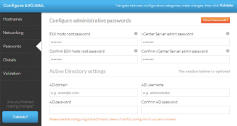 Enter the password details for your ESXi hosts and vCenter Server