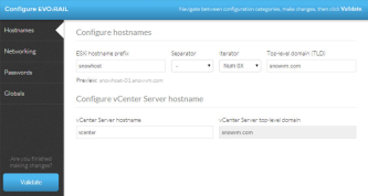 Enter the name conventions of your ESXi hosts and vCenter Server