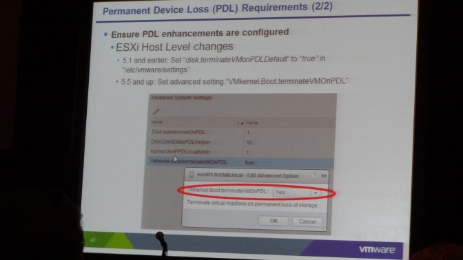 Enable TerminateVMonPDL setting when using a metro cluster.