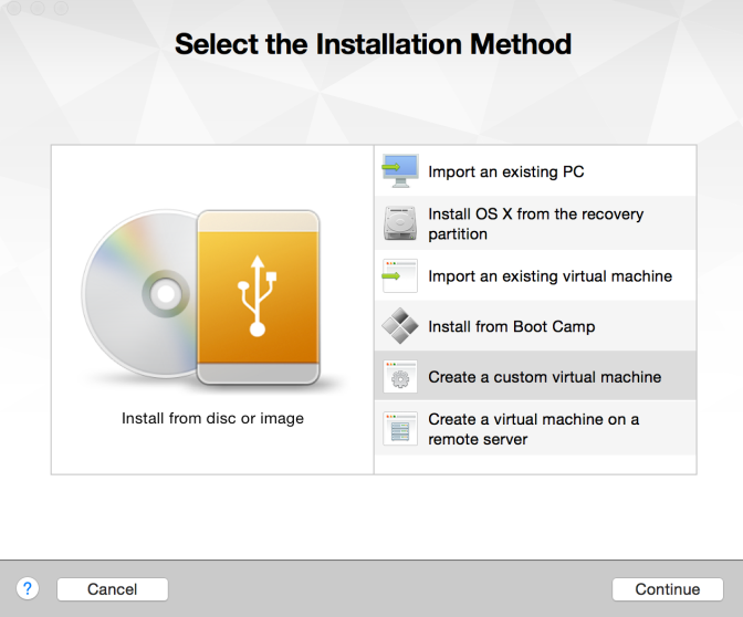Create a custom virtual machine to run ESXi in
